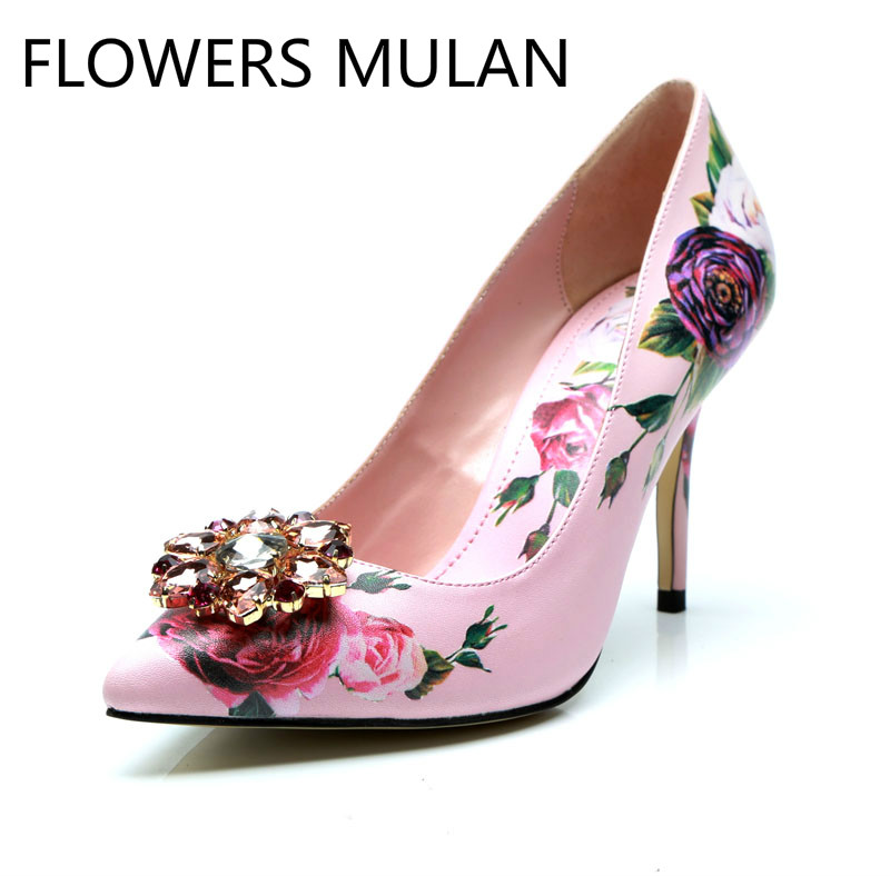 Italian Rhinestone Buckle Floral Print Women Pumps Pink Pointed Toe High Heels Ladies Crystal Shoes Party Wedding Dress Pumps pink random floral print backless camis
