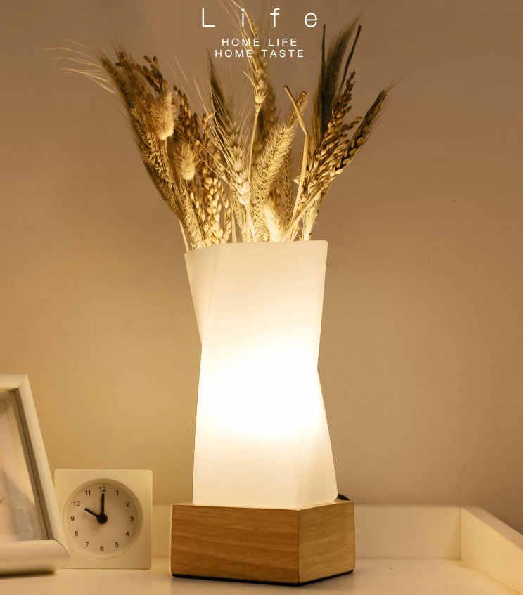 Artpad Nordic простой цветок Настольный светильник из цельного дерева E27 база Стекло абажур Обеденная настольный ночник прикроватные лампы освещения