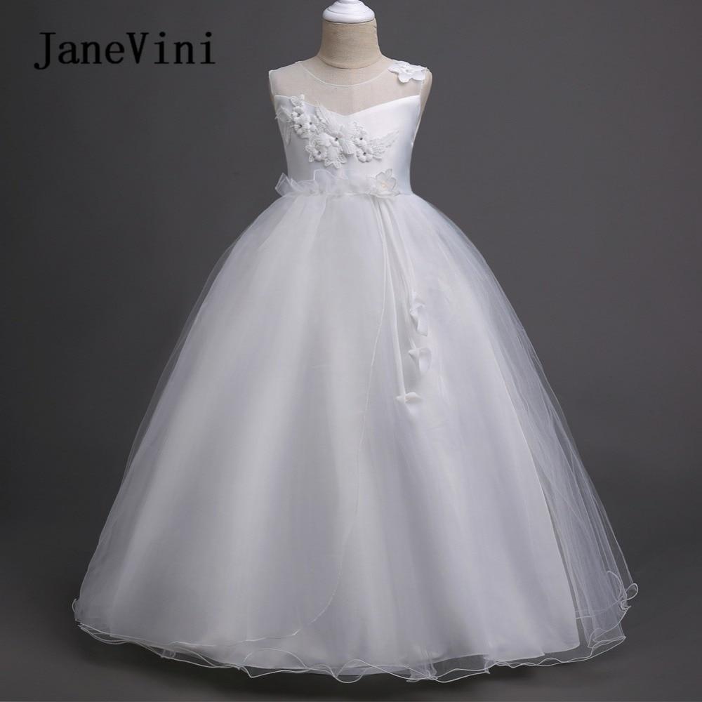 Janevini White 3d Flowers Beaded Tulle Ball Gown Flower Girl Dresses