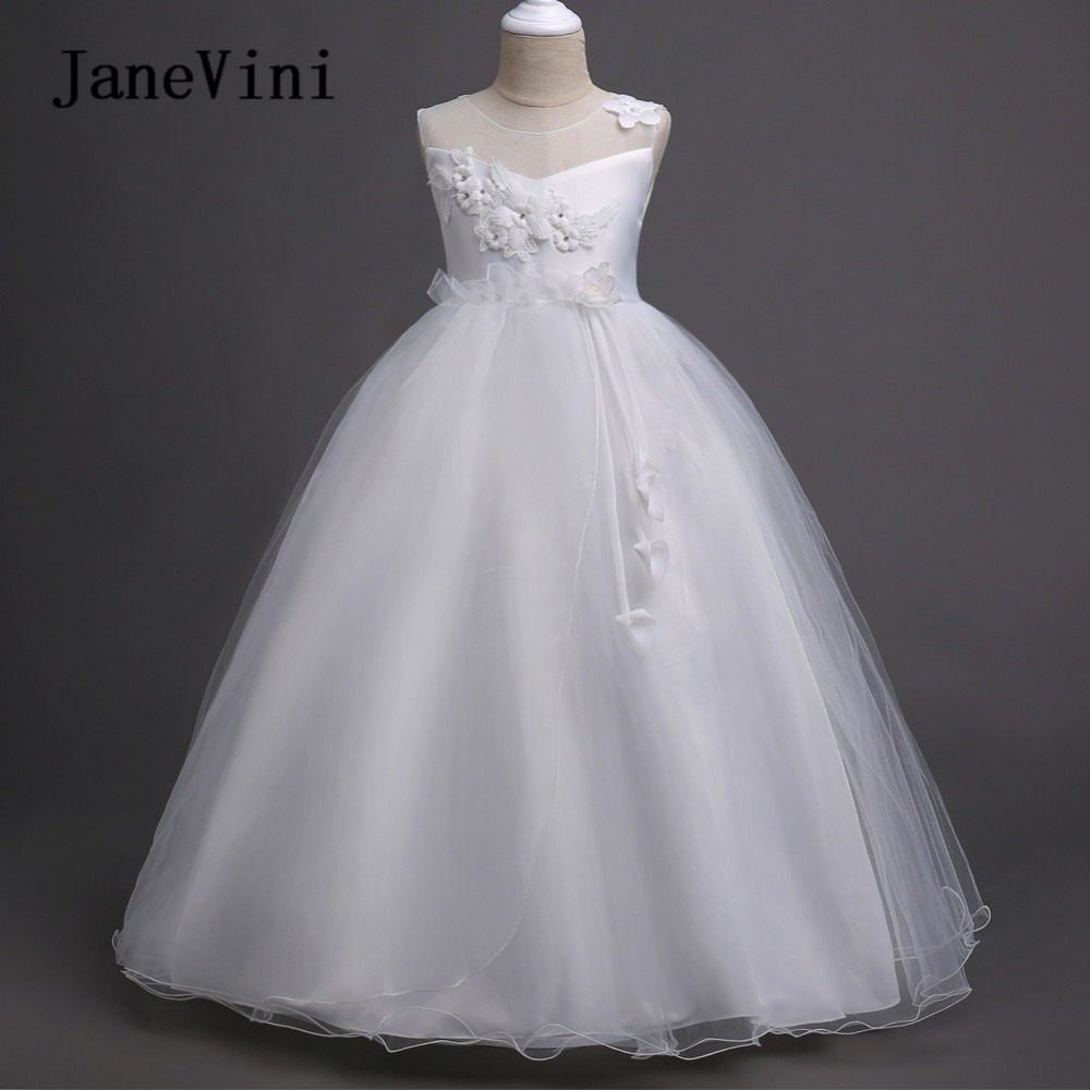 JaneVini White 3D   Flowers   Beaded Tulle Ball Gown   Flower     Girl     Dresses   Floor Length Kids Party   Dress   Sukienka Komunia Dziewczynka