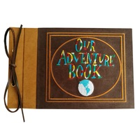 Embroidered Our Adventure Book, Suede Hardcover Scrapbook, 11.6 x 7.5 inch (Pattern B)