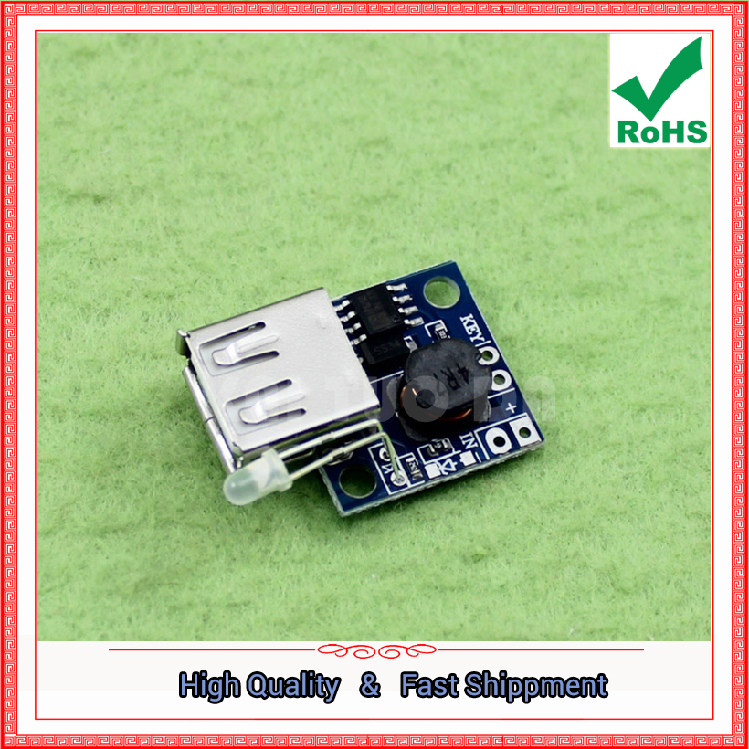Free Ship 2pcs DC-DC step up Boost Module Ultra-Small Power Supply converter Board Charge Indicator 3A High Efficiency Booster