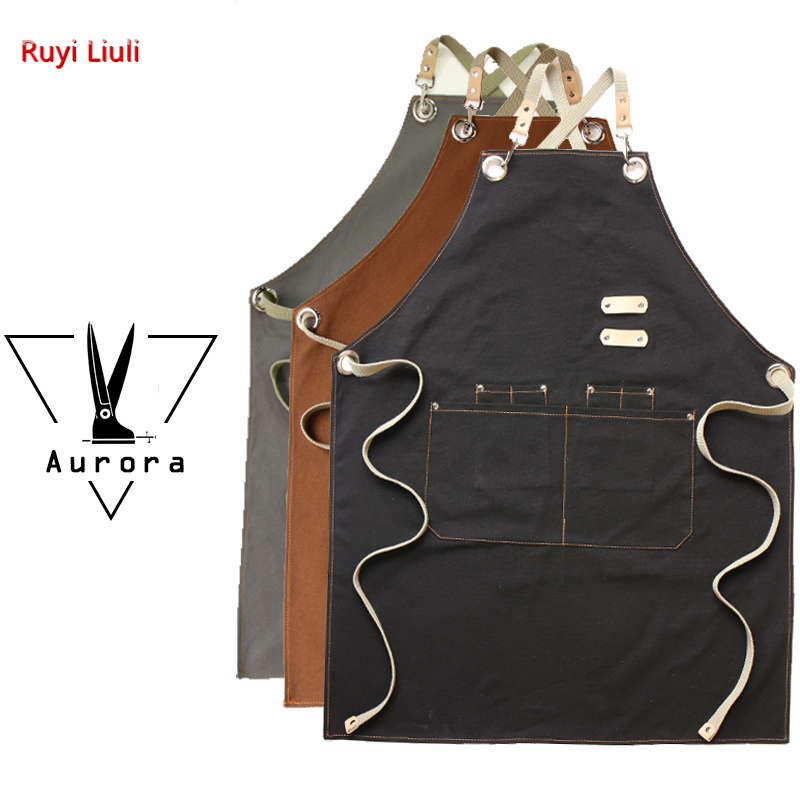 Barista hairdresser hairstylist apron logo custom florist florist restaurant bar work clothes-in Aprons from Novelty & Special Use