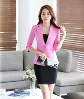 New Style Pink Blazer Women Business Suits Formal Office Suits Work Wear Uniforms Ladies Skirt And