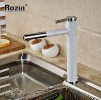 Grilled White Paint Countertop Bathroom Kitchen Sink Faucet Deck Mount Single Handle 360 Swivel Spout