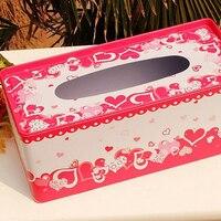 אהבת לב אדום ברזל מארז תיבת מכולות רקמות חתונת זוג תיבות רקמות מגבת נייר מחזיק מפיות קישוט הבית ארגונית