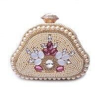 2017 Rhinestone Woman S Purse Imitation Pearls Crystal Evening Bags Shell Shaped Handmade Beaded Clutch Handbag