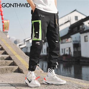 Image 3 - GONTHWID Çok Cepler Kargo Harem koşucu pantolonu Erkekler Hip Hop Moda Rahat Parça Pantolon Streetwear Harajuku Hipster Eşofman Altı