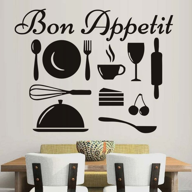 US $8.8 19% di SCONTO|Design moderno Rimovibile Felice Utensili Da Cucina  Wall Sticker Bon Appetit Wall Art Citazione Decalcomania Del Vinile Della  ...