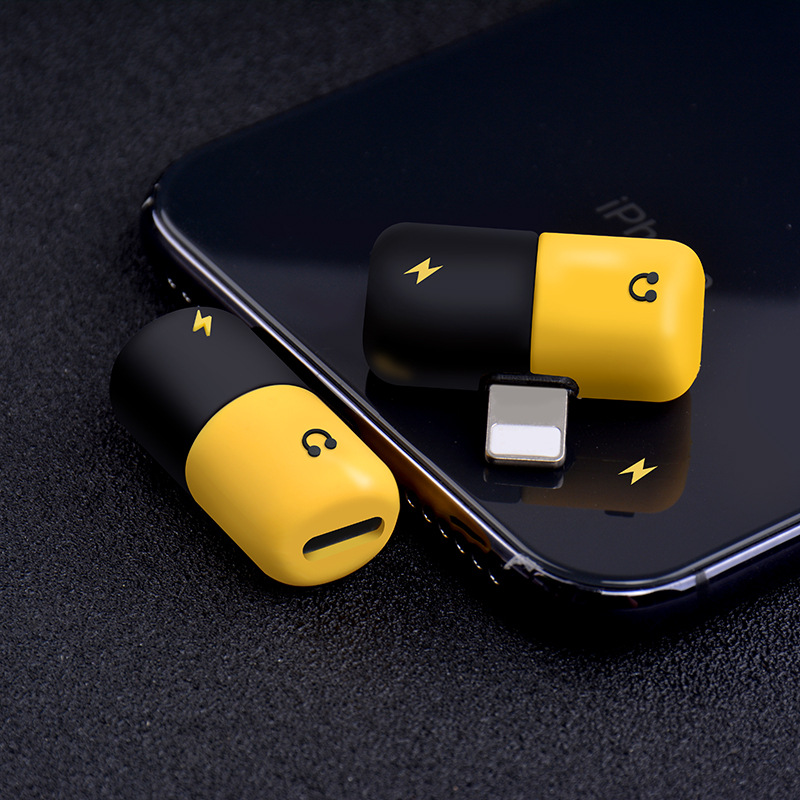 Image 2 - Cute capsule multi function adapter music + charging 2 in 1 Type C 3.5mm lightning double lightning for iPhone7/8/x Android-in Type-C Adapter from Consumer Electronics