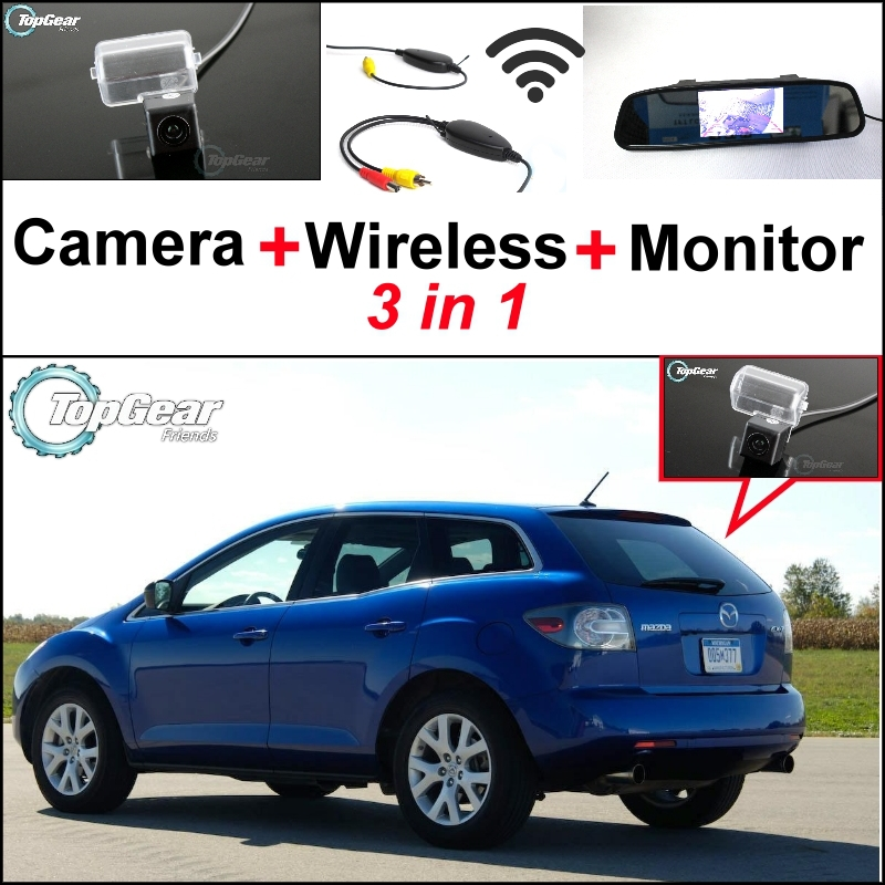 3 in1 Special Rear View Camera + Wireless Receiver + Mirror Monitor Parking System For Mazda CX-7 CX7 CX 7 2007~2013 60 n3emb1300 d14 k53 k53sd rev 5 1 laptop motherboard fit for asus k53sd notebook pc 90days warranty