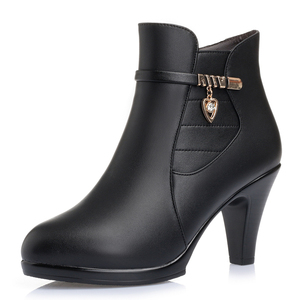 Image 2 - 2020 NEW Fashion Genuine Leather Women Ankle Boots High Heels Zipper Shoes Warm Fur Winter Boots for Women