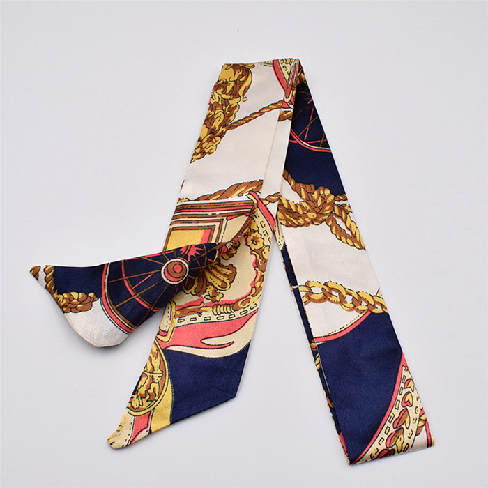 HTB1pToOdgKG3KVjSZFLq6yMvXXan - Small Silk Scarf For Women New Print Handle Bag Ribbons Brand Fashion Head Scarf Small Long Skinny Scarves Wholesale