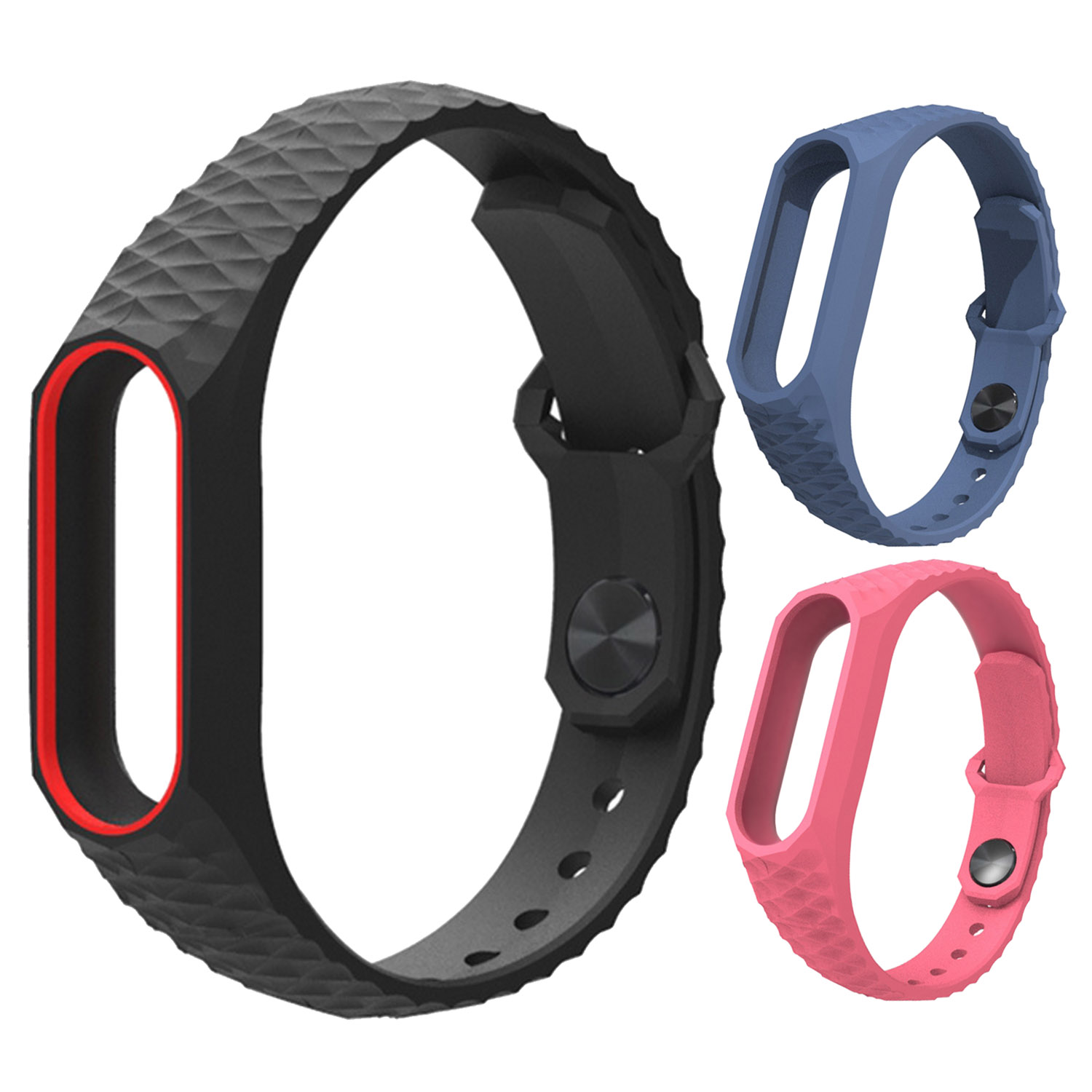 Gosear Silicone Diamond Style Replacement Smart Wristband Strap Bracelet for <font><b>Xiaomi</b></font> Xiomi Xiao Mi Band <font><b>Miband</b></font> <font><b>2</b></font> Band2 Accessory image