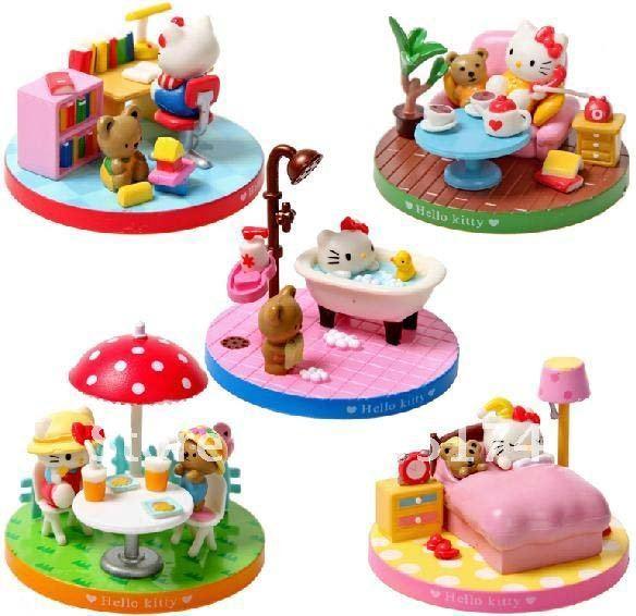 Hello Kitty scene role action figure decoration set 5pcs/set kid's toy,cartoon figure
