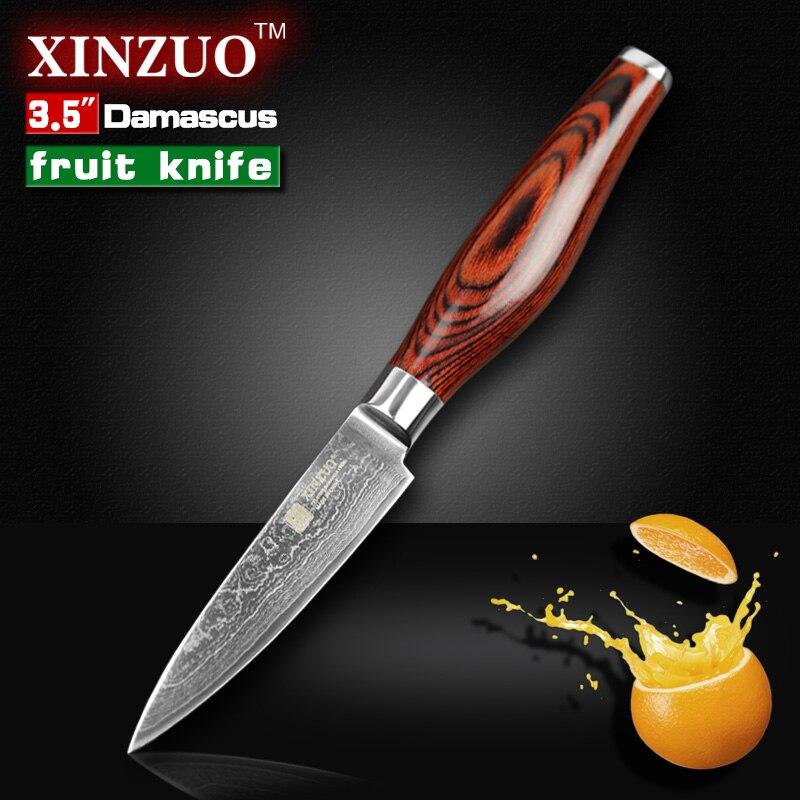 XINZUO 3 5 inch paring font b knife b font Japanese VG10 Damascus kitchen font b