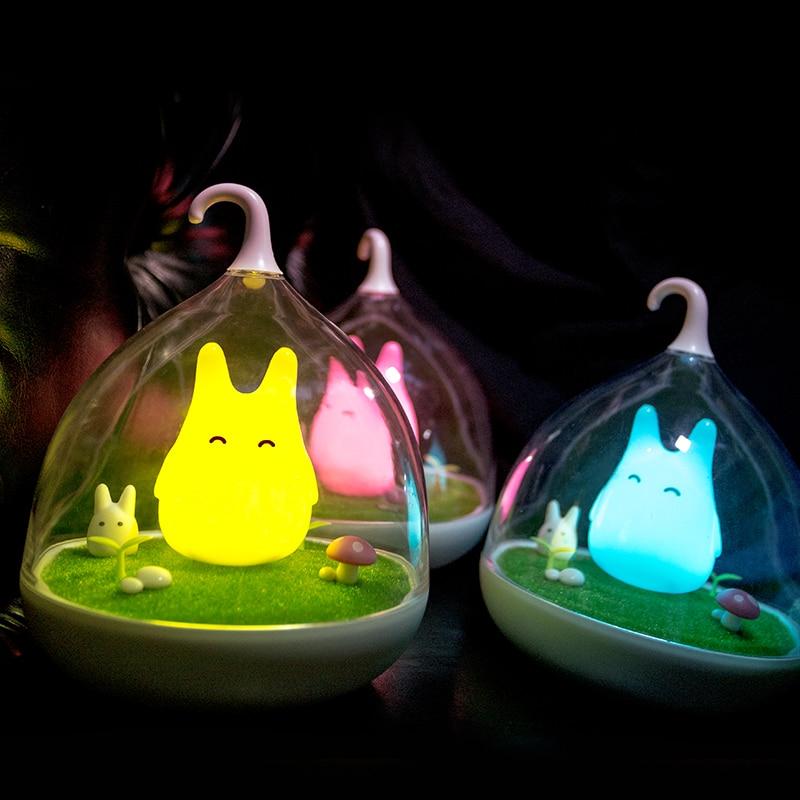 Harga pabrik Lampu Malam Totoro Lucu Portabel Sensor Sentuh USB LED Lampu Malam Untuk Kamar Tidur Bayi Tidur Dekorasi Rumah