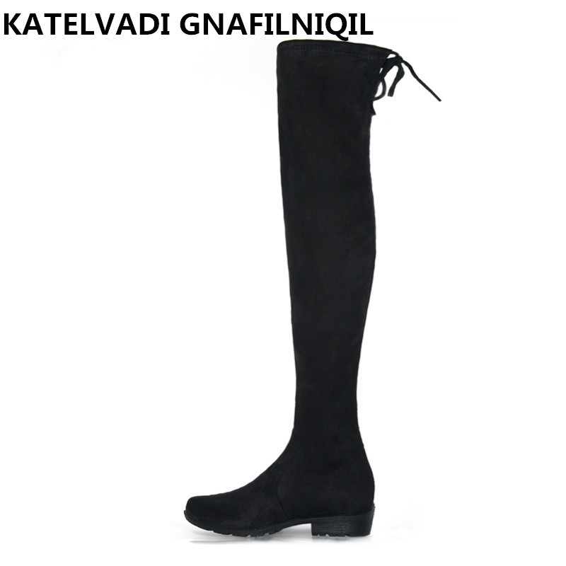 New Women Over Knee Boots With Fur Black Thigh High Boots Shoes Woman Round Toe Winter Stretch Slim Winter Boots Black FS-0104