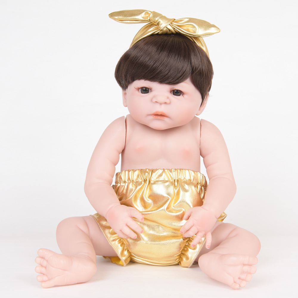 22 Inch Soft Full Silicone Reborn Baby Newborn Lifelike Princess Girl Doll for Kids Toy Christmas Birthday New Year Gift цена 2017