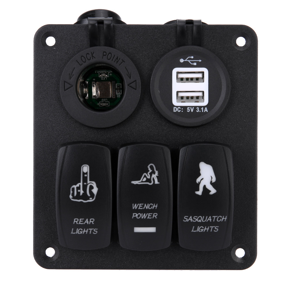 Universal <font><b>Car</b></font> Auto Boat <font><b>Car</b></font> Panel Combination Type Switch with Dual <font><b>USB</b></font> <font><b>Car</b></font> <font><b>Charger</b></font> Combination Panel <font><b>Car</b></font> ON-OFF Switch