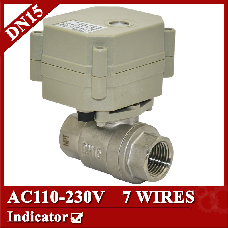 ФОТО 1/2''  AC110V-230V Electric Valve 7 wires(CR704 ), DN15 electric ball valve, flow control valve for medical equipment