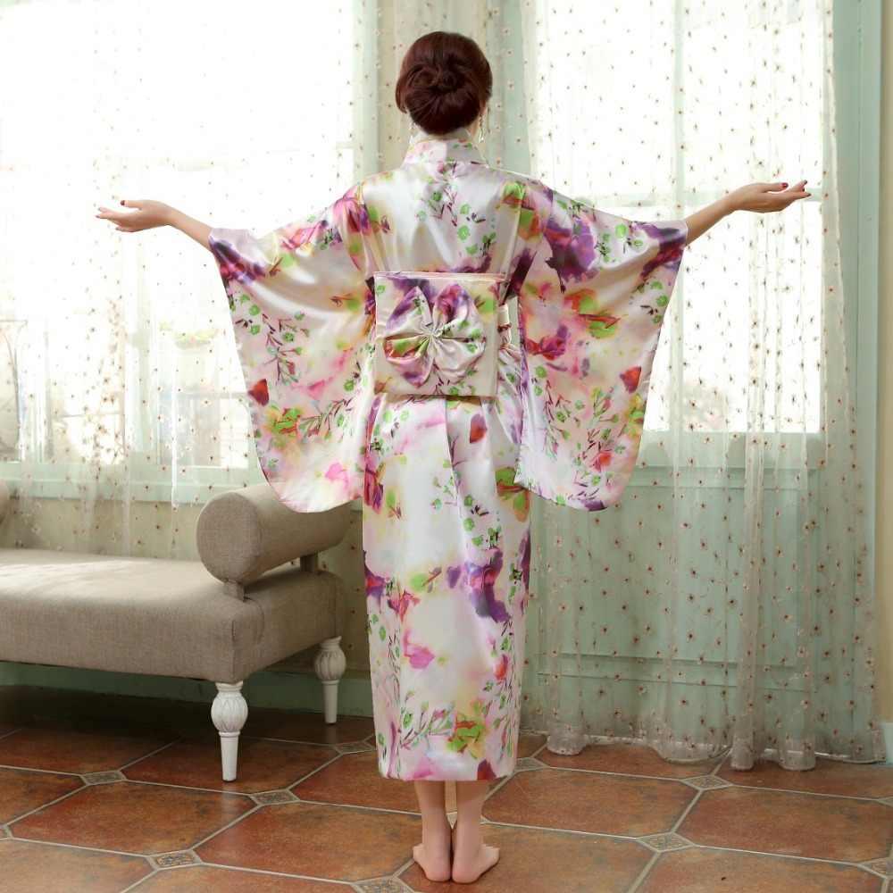 Tradizionale giapponese Delle Donne di Seta Del Rayon Kimono Vintage Yukata Con Obi Prestazioni Vestito Da Ballo di Halloween Del Costume One Size HL06