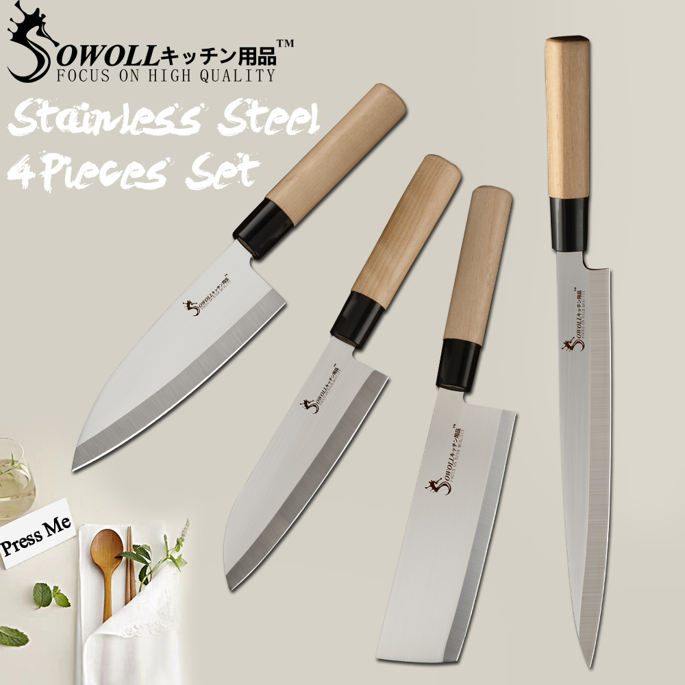 SOWOLL Chef Kitchen Knives Japanese Salmon Sushi Knives Stainless Steel Sashimi Kitchen Knife Raw Fish Fillet