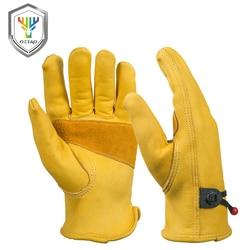 OZERO Neue Männer der Arbeit Fahrer Handschuhe Rindsleder Sicherheit Schutz Tragen Sicherheit Arbeits Schweißen Warme Handschuhe Für Männer 0003