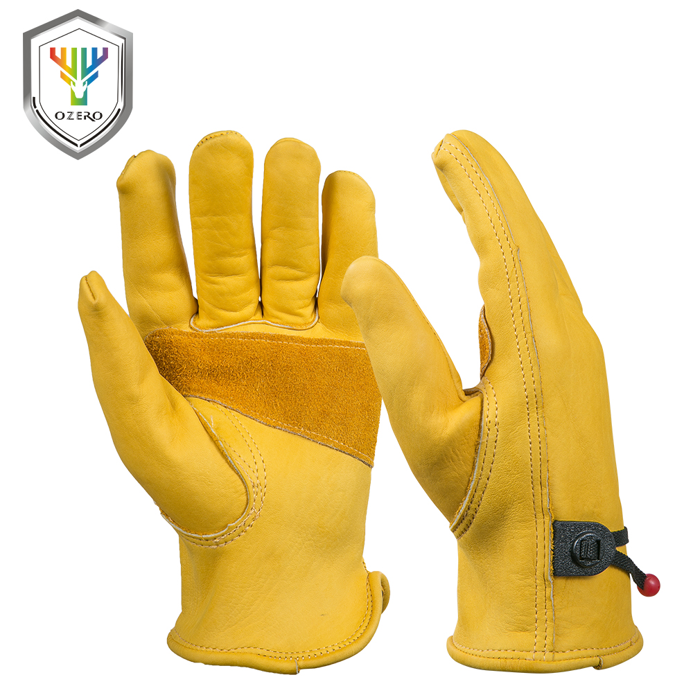 OZERO New Men's Work Driver Gloves Cowhide Leather Security Protection Wear Safety Working Welding Warm Gloves For Men 0003 kim yuan 021 cowhide winter warm windproof security protection working gloves for construction driver yard work men