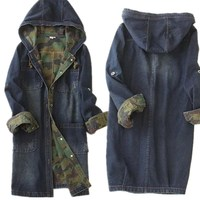 Single breasted long denim hooded jacket camouflage high quality women denim jacket spell color