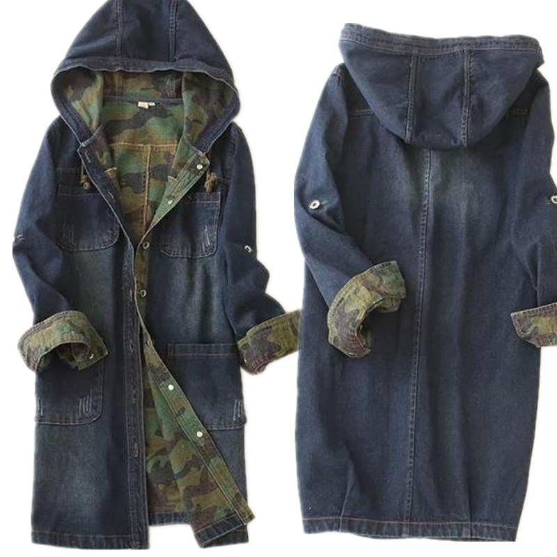 Single-breasted Long Denim Hooded Jacket Camouflage High Quality Women Denim Jacket Spell Color