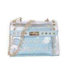 Fashion sweet lady ladies bag letter transparent handbag Messenger composite PVC chain new BS88