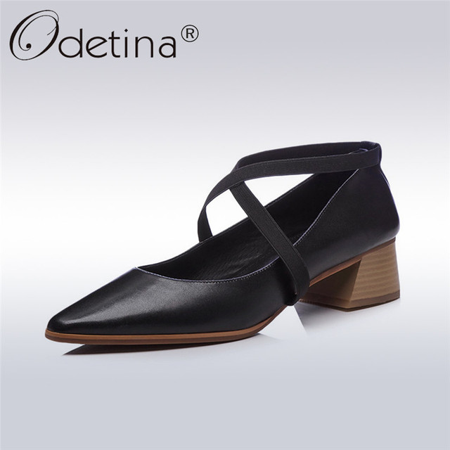 42a4369447e Odetina 2018 New Fashion Genuine Leather Pointed Toe Pumps Chunky Low Heels  Footwear Elastic Brand Pumps Elegant Shoes For Women