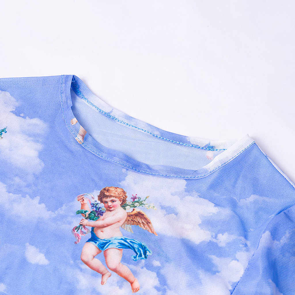 Женское платье, модное, с длинными рукавами, с сеткой ангела, облегающее коктейльное платье Вечерние Клубные шорты с принтом, платье миди, синее, сексуальное платье