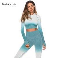 Nuovo 5 Colori di Moda Senza Soluzione di Continuità Set per running Donne Ombre della Palestra di Sport Abbigliamento Top A manica Lunga + Gradiente Sport Corsa e Jogging Ghette di Yoga
