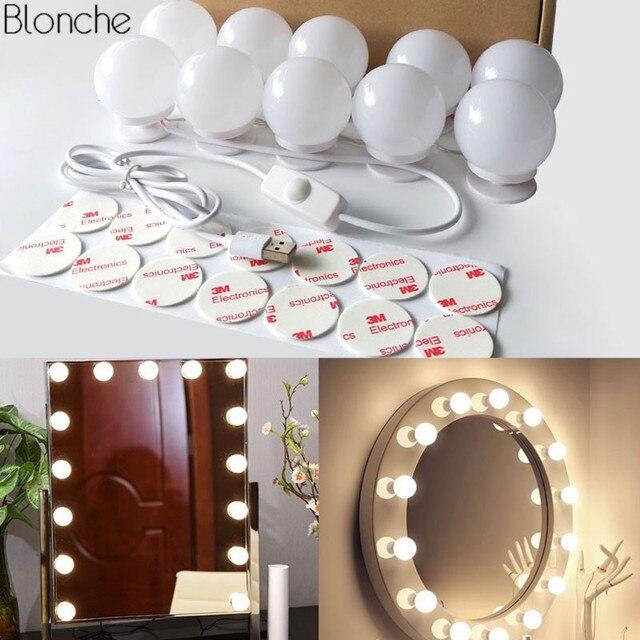 10 Leds/lot 5V USB Makeup Mirror Light Bulbs Kit Bathroom Vanity Light Wall Lamp For Dressing Table with Dimmer Switch DIY Light