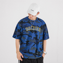HFNF Mens T Shirt Casual Camouflage Print O-Neck Male Cotton Womens Short Sleeve Loose Female