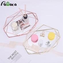 3D Nordic Style Metal Mirrored Storage Tray Hexagonal Wire Storage Basket Holder Desktop Cosmetic Jewelry Organizer Home Decor