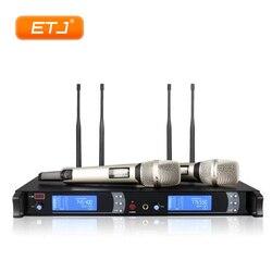 True Diversity bezprzewodowy mikrofon do Karaoke występ na scenie KTV 2 Handheld 4 anteny duża odległość stabilny System mikrofonowy