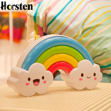 Horsten 2017 Rainbow Night Light Baby Bedside Decorative Colorful Voice Touch Sensor Table Desk Lamp Kid Toy Children AA Battery