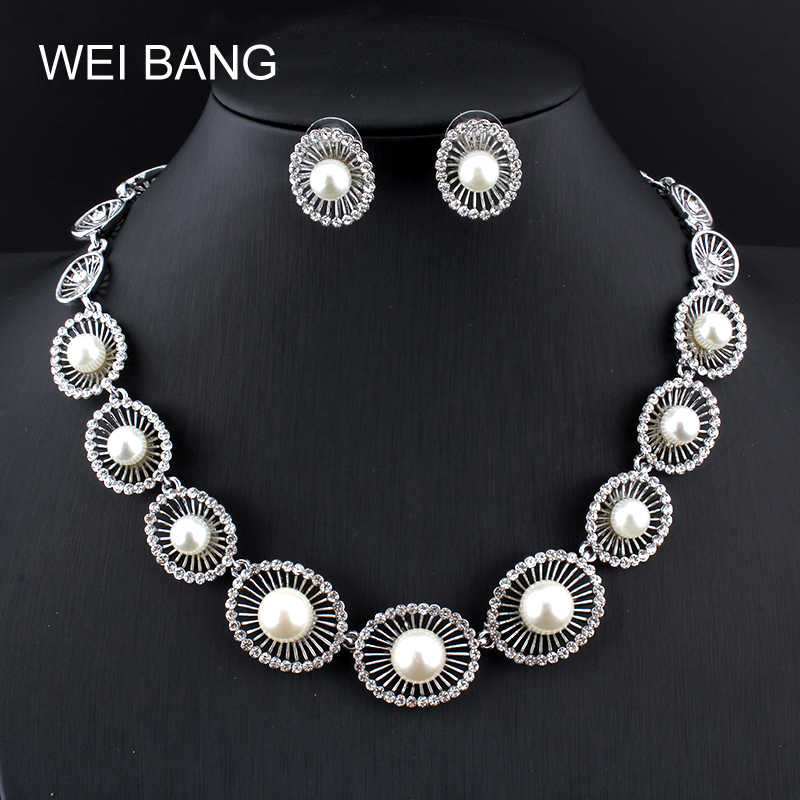 Weibang Fashion New Round Imitation Pearls Pendant Women Necklace Sets Antique Silver Charm Statement Jewelry Drop Shipping