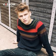 In the spring of the new sweater The European and American fashion color matching national wind pullovers male