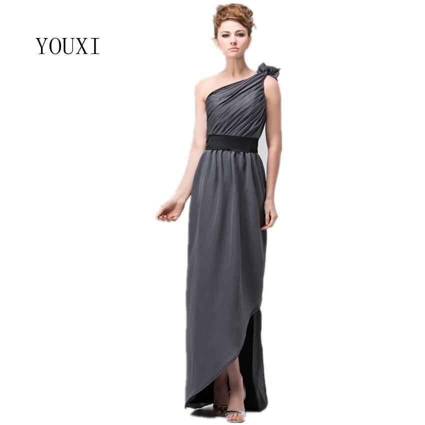 Sexy One Shoulder Grey Chiffon   Bridesmaid     Dresses   2019 Long vestido madrinha casamento longo robe demoiselle d'honneur