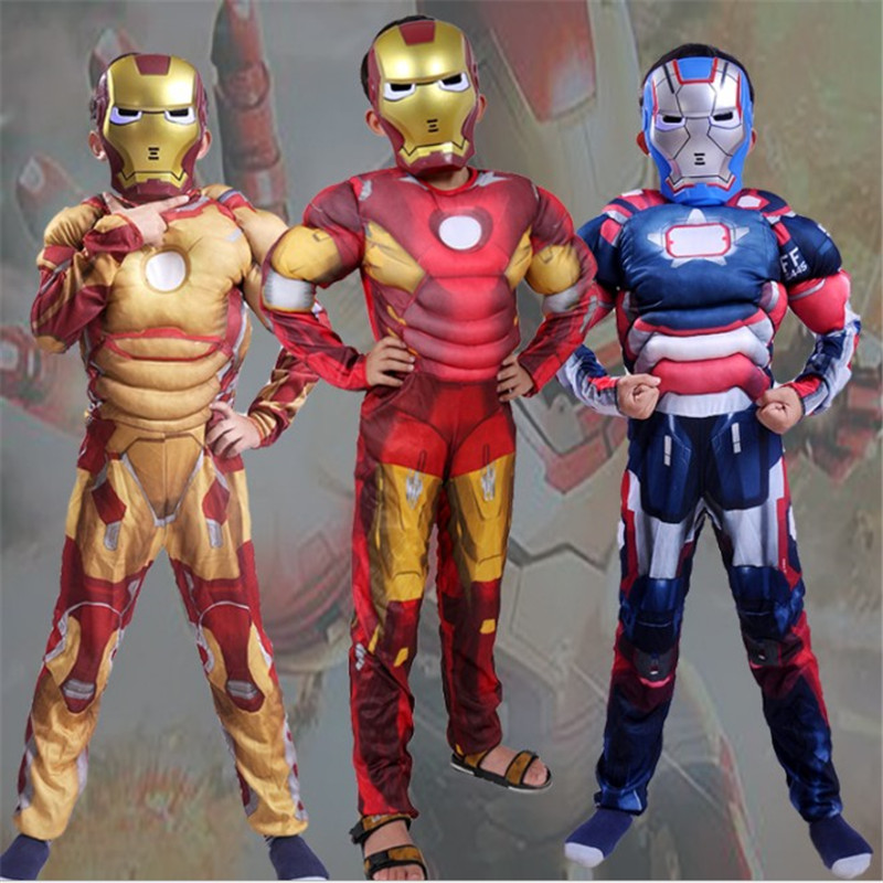 Christmas halloween costumes  for boys Superhero Cosplay clothing New Iron Man Deluxe Boys Funny Jumpsuits kids Muscle Movie Cos