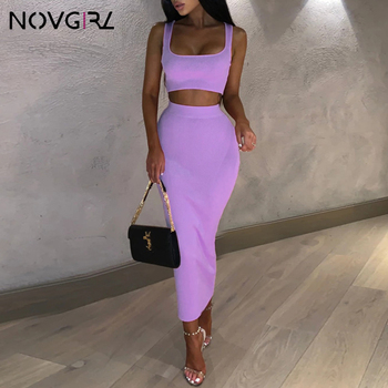 Novgril Rib Knit Two Piece Set Dress Women 2019 Summer Neon Vest Crop Top and Long Skirt 2 Piece Suit Sexy Club Party Midi Dress marled knit crop top with split skirt