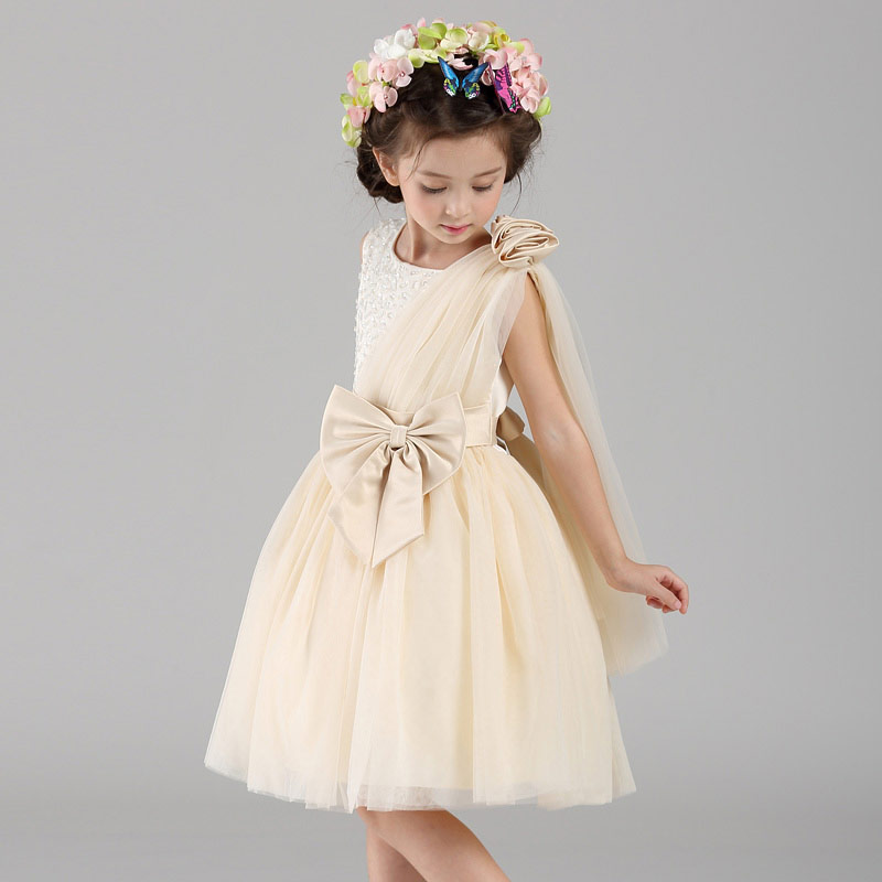 Kids Girls Dress For  Party Birthday Wedding Princess Bow Champagne Color Ball Gown Toddler Infant Costume Bridesmaid Dresses от Aliexpress INT