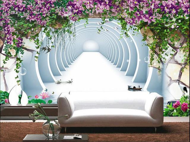 D kamer behang custom muurschildering non woven foto d bloemen