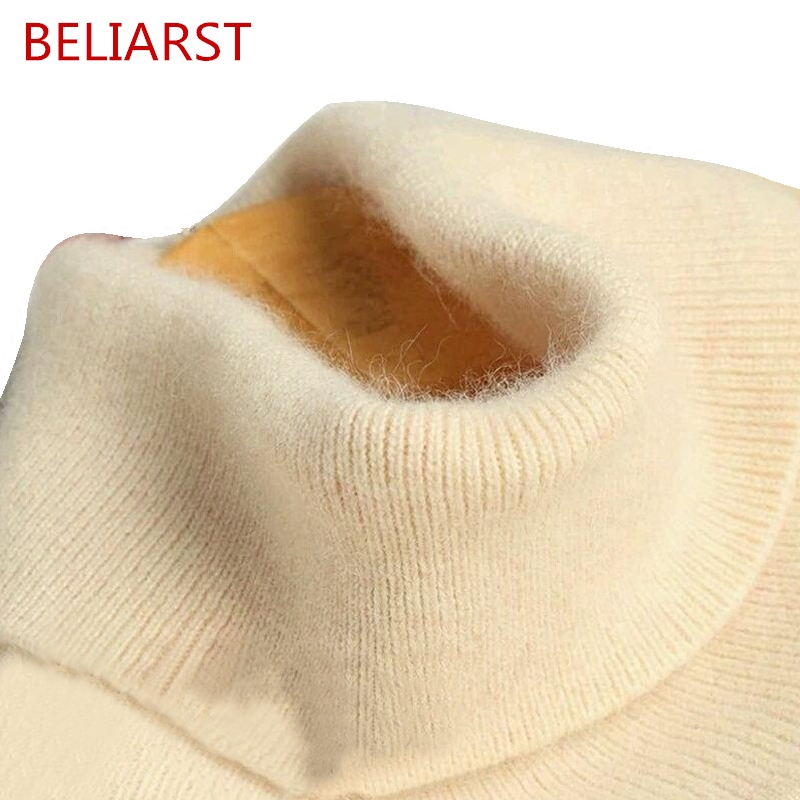 BELIARST New Genuine Women's High Collar Lapel Cashmere Sweater Wool Sweater Pullover Slim Warm Solid Color Base Elastic Sweater