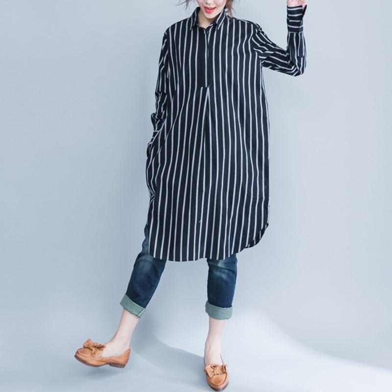 2018 Casual Pregnant Women Clothing Large Size Stripe Maternity Art Long Blouse Clothing Korean Loose Cotton Maternity Colthes