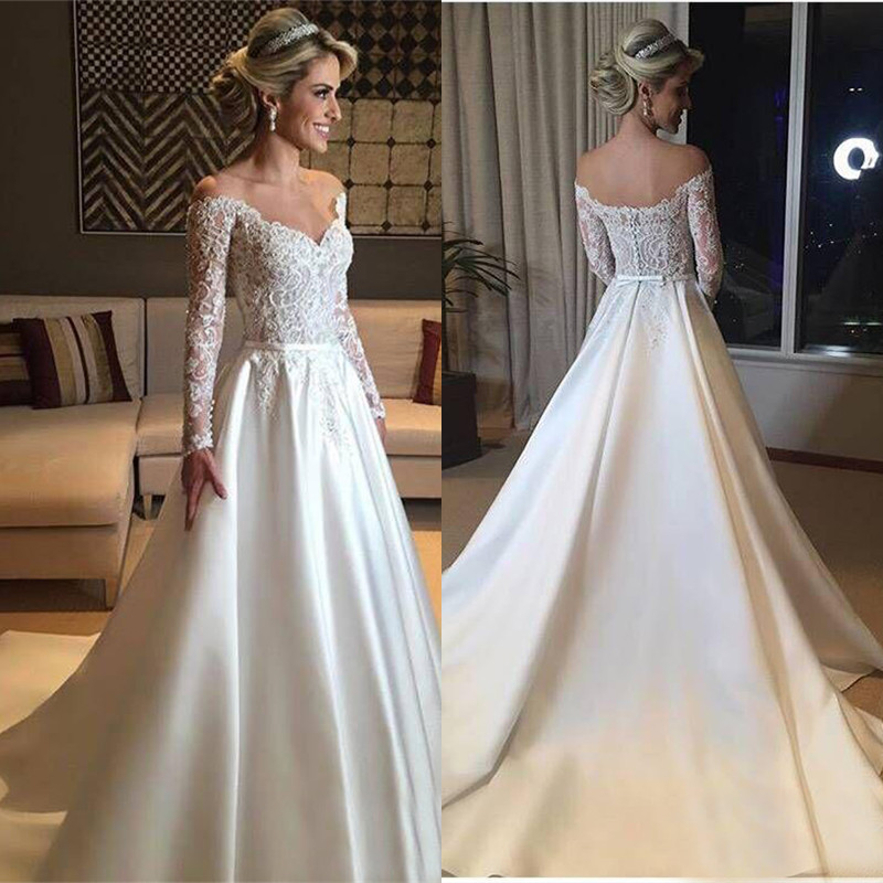 2019 Wedding Dresses With Sleeves: Aliexpress.com : Buy Elegant Long Sleeve Wedding Dress